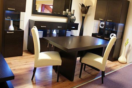 venus dwa białe krzesła skórzane stół w kolorze venge