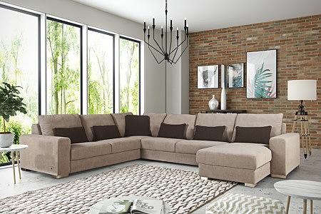 Vesta aranżacja salonu z kamienną ścianą i brązowym wypoczynkiem z szezlongiem