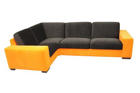 Vesta sofa narożnik w kolorach pomarańczowym i czarnym