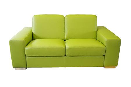 Vesta zielona dwuosobowa sofa skórzana