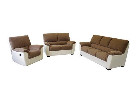 Vito komplet wypoczynkowy połaczenie biała i brązowa skóra, w komplecie sofa i dwa fotele