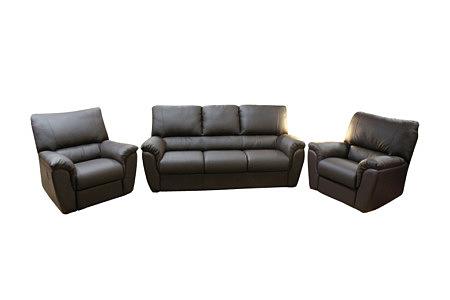 Vito nowoczesny komplet wypoczynkowy sofa i dwa fotele skórzane, kolor czarny
