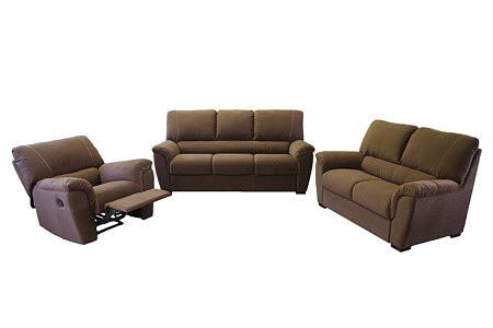 Vito komplet wypoczynkowy sofy i dwa fotele, całość tapicerowana tkaniną w kolorze brązowym