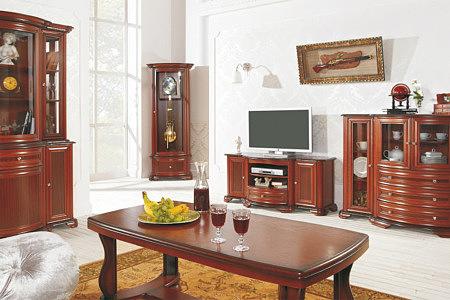 Kolekcja Afrodyta salon pokój meble stylowe wykonane z litego drewna oraz szkła kryształowego gięte fronty nadają elegancji