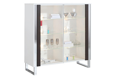 artvision meble biała witryna front wenge ze szklanymi drzwiczkami