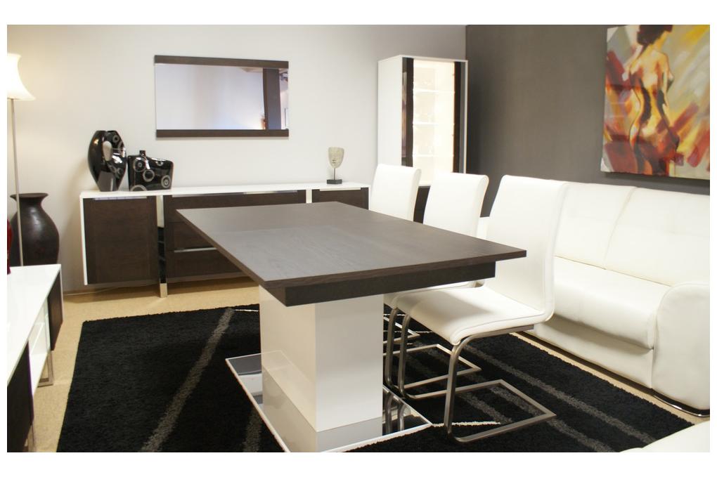 artvision nowoczesny stół na jednej nodze biały krzesła skórzane metalowe nogi