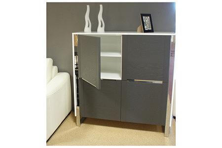 artvision szafka biały korpus drzwiczki szare metalowe ozdoby