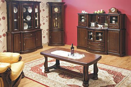 Kolekcja Atena meble klasyczne do salonu z elementami z litego drewna eleganckie stylowe meble