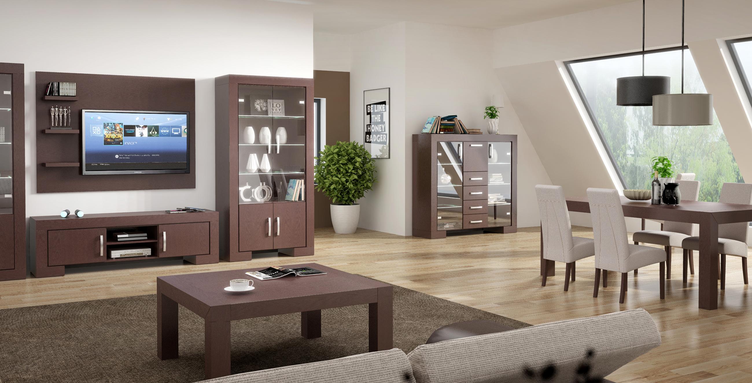 BARCELONA - meble dębowe do nowoczesnego salonu, oświetlenie, stół rozkładany *** TC MEBLE