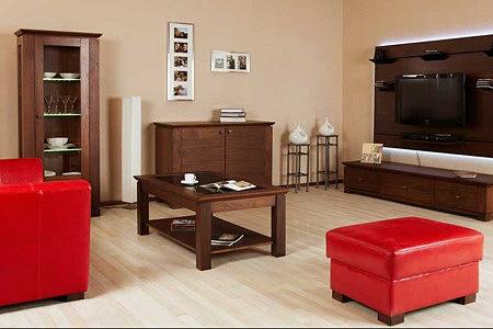 cassetti meble do pokoju dziennego styl klasyczny czerwone pufy