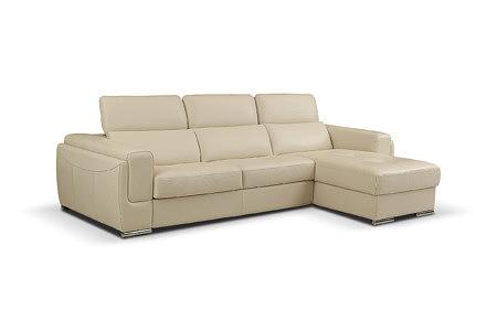 Diva elegancka sofa skórzana pikowane siedzisko otomana spanie