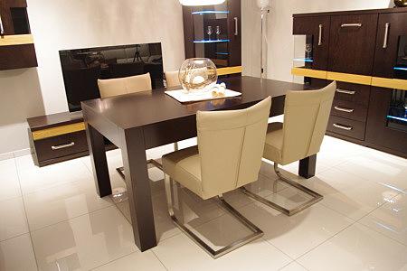 Florencja dębowy stół do pokoju dziennego beżowe skórzane krzesła metalowa płoza