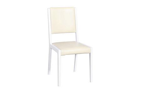 futureline białe krzesło siedzisko i oparciew biała skóra