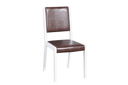 futureline białe krzesło siedzisko oparcie skórzane brązowe