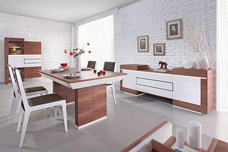 Kolekcja salon Future Line pokój dzienny nowoczesny zestaw mebli oparty na prostej formie orzech amerykański w naturalnych wybarwieniach