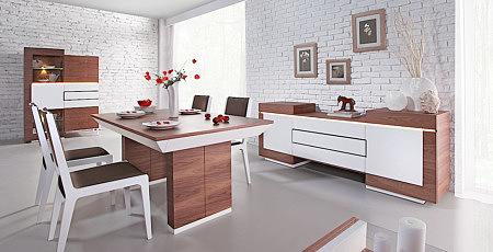 futureline meble nowoczesne do salonu białe fronty orzech amerykański mini