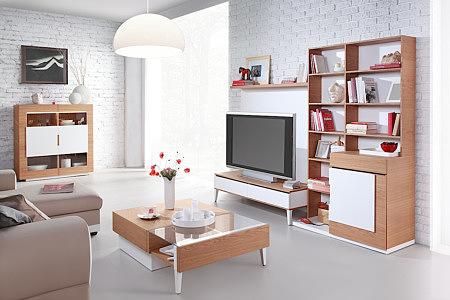 Futureline meble nowoczesne do salonu orzech laklierowane białe