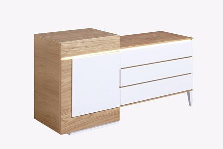 futureline szafka z szufladą orzech amerykański front lakierowany biały
