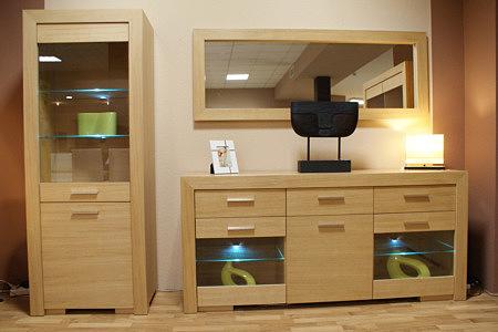 Grande zestaw mebli dębowych podświetlane półki jasny dąb