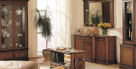 Kolekcja salon Ikar pokój dzienny klasyczny stylowy drewno naturalny dąb z elementami z litego drewna