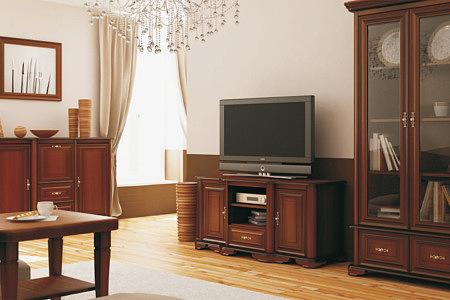 Kolekcja salon Ikar II pokój dzienny meble pokojowe klasyczne stylowe bogato zdobione fronty szafek