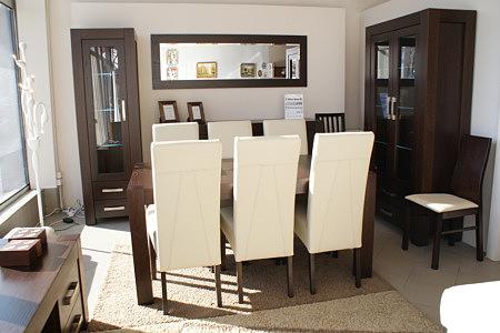 kanada meble dębowe jasne białe krzesła skórzane