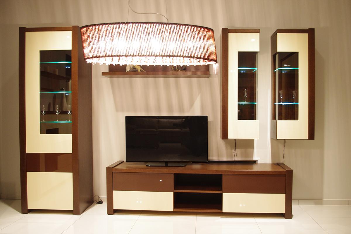 Kolekcja salon Lizbona pokój dzienny zestaw mebli witryna olcha podświetlenie led