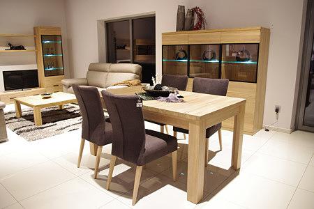 Massimo stół dębowy brązowe krzesła skórzane