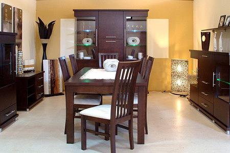 Kolekcja salon Milano pokój dzienny dębowe meble pokojowe ciemny dąb uchwyty metalowe aluminiowe