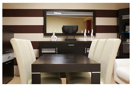 monaco stół dębowy krzesła skórzane białe