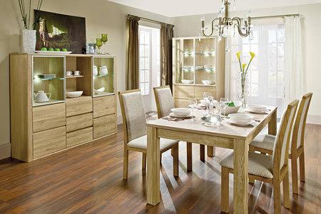 Kolekcja salon Orlando pokój dzienny jadalnia komplet mebli dębowych solidne masywne nowoczesne kształty do współczesnych wnętrz