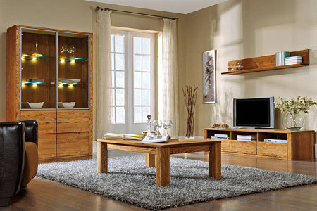 Kolekcja salon Orlando pokój dzienny komplet mebli do salonu z wyraźnym rysunkiem faktury drewna