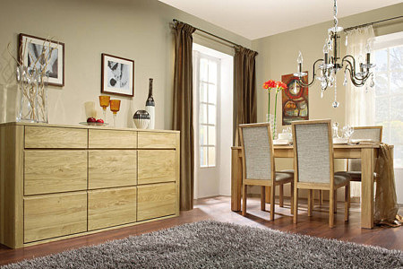 Orlando meble do salonu kredens i stół z krzesłami