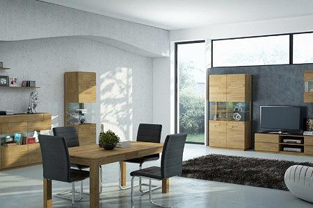 Kolekcja salon Palermo pokój dzienny wykonanie z litego drewna dębowego w formie masywu i klepki widoczny rysunek faktury drewna