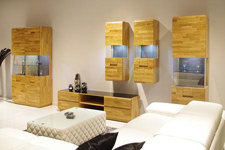 Kolekcja salon Palermo pokój dzienny zestaw nowoczesnych mebli dębowych z widocznym rysunkiem faktury naturalnego drewna - Wrocław TC meble