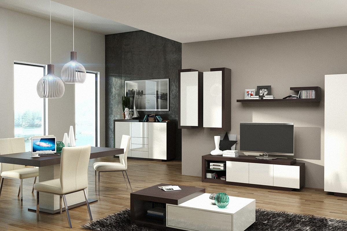 dd928c2a2c4945 Kolekcja salon Rodos pokój dzienny meble lakierowane na wysoki połysk  wykonane z naturalnej okleiny dębowej fronty ...