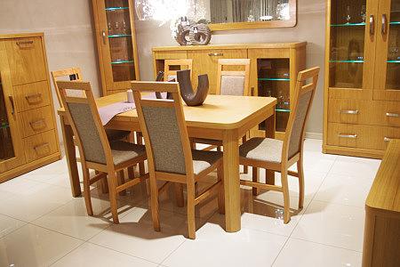 Sara2 stół dębowy okleinowany krzesła tapicerowane