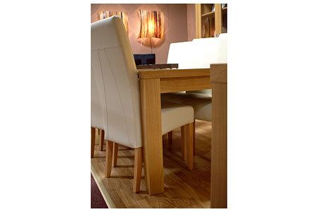 Tosca krzesło drewniane skórzane białe stół dębowy