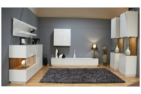 zeus białe meble do salonu lakierowane na wysoki połysk