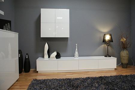 Zeus białe meble lakierowane szafka wisząca i rtv