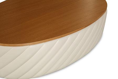 Elipsa biała ława tapicerowana skórą blat drewniany dębowy