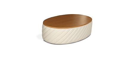 Elipsa biała ława w kształcie elipsy z drewnianym blatem dębowym