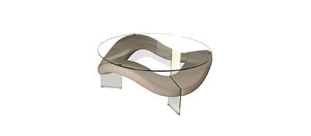 FALA nowoczesna ława szklana elipsa skórzana fala