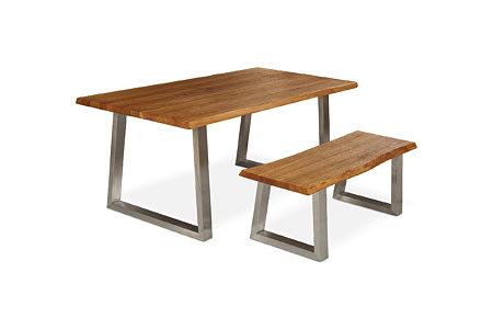 Mamut stół z ławą do siedzenia nogi surowa stal nierdzewna