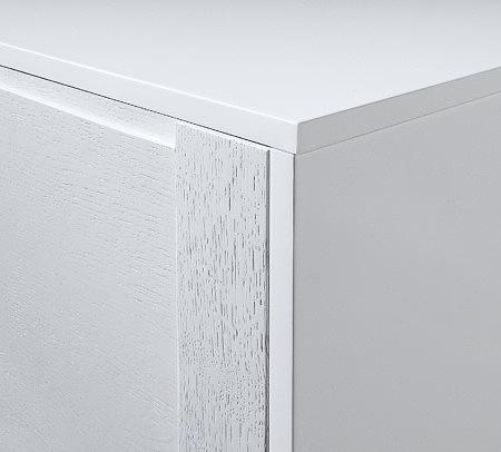 artvision detal wykończenia białej szafki z białym frontem w okleinie