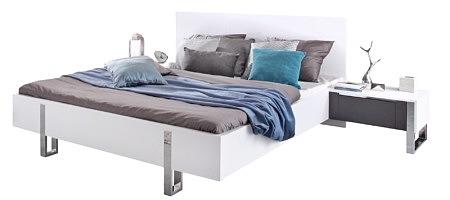 Artvision łóżko do sypialni białe metalowe nogi szare dodatki