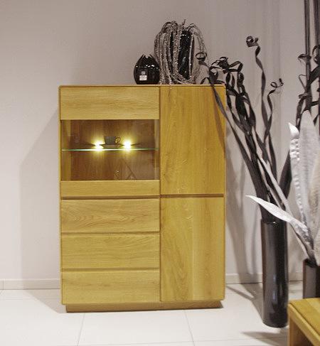 atlanta nowoczesna szafka dębowa do salonu półka szklana z oświetleniem led
