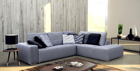 Flavio - meble wypoczynkowe tapicerowane elegancką tkaniną w kolorze szarym, propozycja aranżacji nowoczesnego salonu i pokoju dziennego