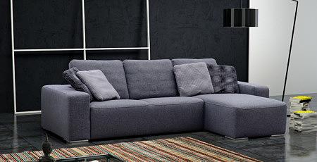 Flavio - szaroniebieski narożnik do salonu z dużymi poduszkami na oparciu