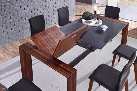 Larix szary nowoczesny stół rozkładany do jadalni lakier matowy